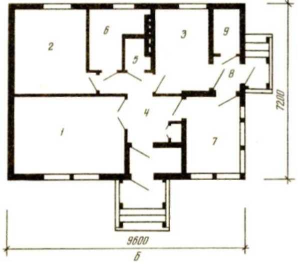 Одноэтажный двухкомнатный дом