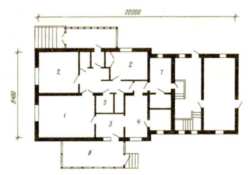 Одноэтажный трехкомнатный дом