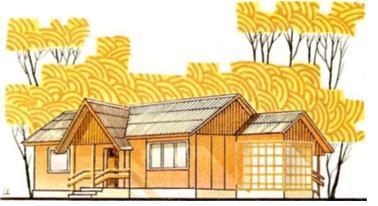 Рис.31. Одноэтажный трехкомнатный дом в пос. Запрудное Нижегородской области — типовой проект 186-209-8 (жилаяплощадь 45,16 м2 общая — 82.18 м2)