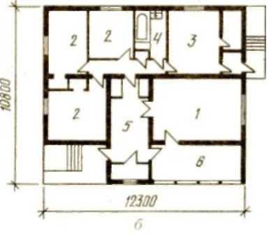 Одноэтажный четырехкомнатный