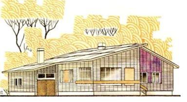 Одноэтажный четырехкомнатный дом, сблокированный с хозяйственной постройкой и гаражом в пос. Пушкинский Саратовской области — типовой проект 184-16-28/1 (жилая площадь 50 м2, общая — 99,3 м2)