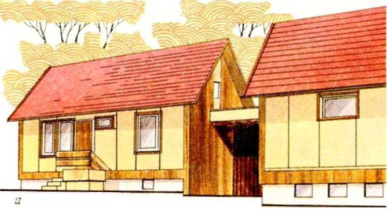 Двухквартирный одноэтажный дом с трехкомнатными квартирами, сблокированными с гаражом, в пос. Алитус Литовской ССР (жилая площадь квартиры 42,27 м2; общая — 71,27 м2)